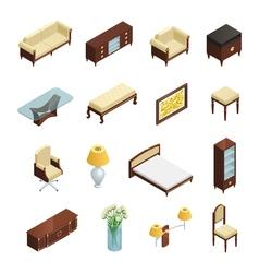 Luxury Interior Isometric Elements vector image