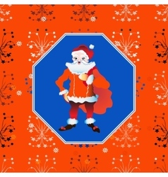 portrait of a Santa Claus posing near bag gifts vector image