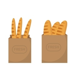 Bread in a paper bag loaf baguette in the papers vector