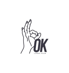 Outline of hand showing ok sign logo template vector
