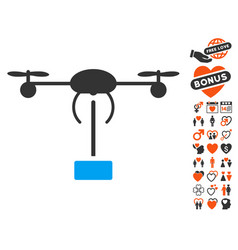 copter shipment icon with dating bonus vector image