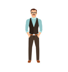 Man in hipster style clothes vector