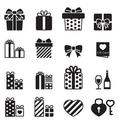 Gift box present icons vector