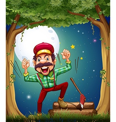 A very cheerful lumberjack at the forest vector