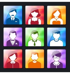 Social avatar icons set vector