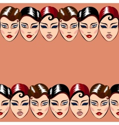 seamless pattern with woman faces vector image