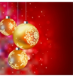 Christmas background with gold baubles vector