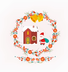 Christmas decorative wreath and santa claus vector