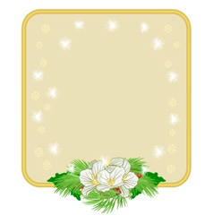 Christmas decoration frame with white flowers and vector