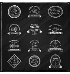 Vintage seafood badges chalkboard vector