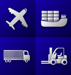 Transport export import icon set vector
