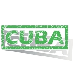 Green outlined cuba stamp vector