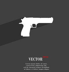 Gun icon symbol flat modern web design with long vector