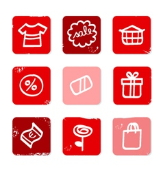 retro shopping icons vector image