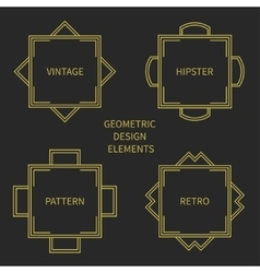 Set of line retro gold frame 1920 style vector