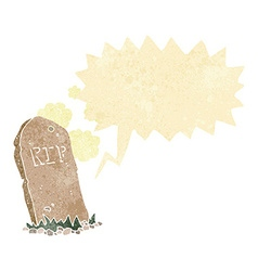 Cartoon spooky grave with speech bubble vector