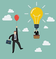 Businessman in lightbulb balloon fly pass vector