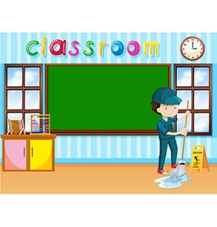 Janitor cleaning the classroom vector image