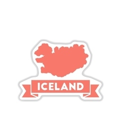 Paper sticker on white background iceland map vector