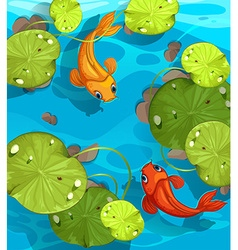 Two fish swimming in the pond vector