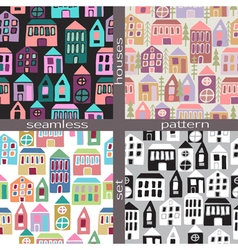 Set of seamless pattern houses vector