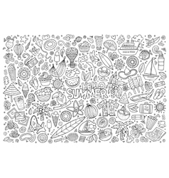 Line art set of summer objects vector