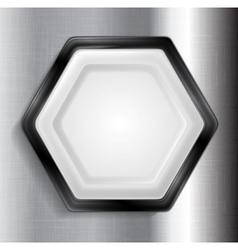 Abstract metallic hexagon label vector