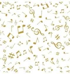 Abstract music golden notes seamless pattern vector image