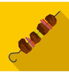 Barbecue kebab on skewers icon flat style vector