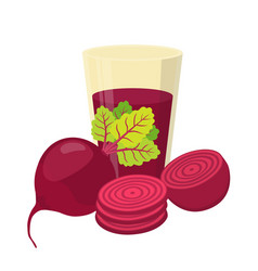 Beetroot juice beetroot and slices flat style vector