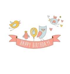 Birds On Happy Birthday Party Banner vector image vector image