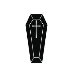 Black classical coffin simple icon vector