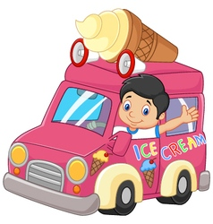 Cartoon little boy driving car and waving vector image