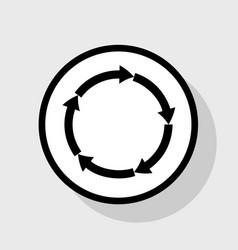 Circular arrows sign flat black icon in vector