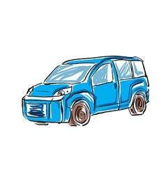 Colored hand drawn car on white background of a mi vector