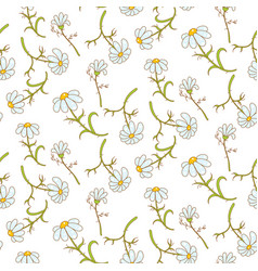 daisy light blue seamless pattern vector image