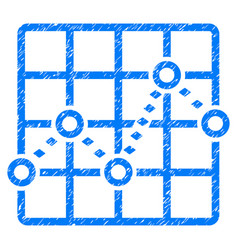 Dotted line grid plot grunge icon vector