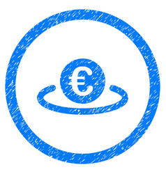 euro placement rounded icon rubber stamp vector image