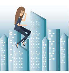 failure business woman cartoon vector image