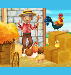 farmer and chickens in the barn vector image vector image