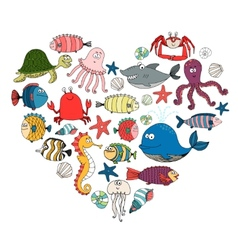 Fish and marine animals vector