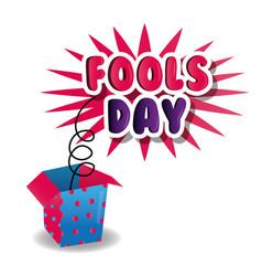 Fools day celebration poster box prank image vector