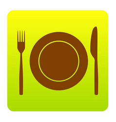 Fork knife and plate sign brown icon at vector