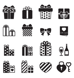 gift box present icons vector image vector image