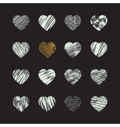 Hand drawn heart icons vector image vector image