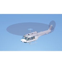 Low poly white helicopter vector image vector image