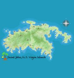 Map of st john virgin islands vector