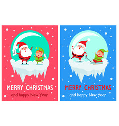 merry christmas singing santa vector image