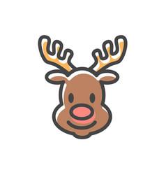 reindeer head christmas icon vector image vector image