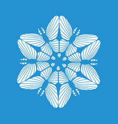 Round snowflake icon simple style vector